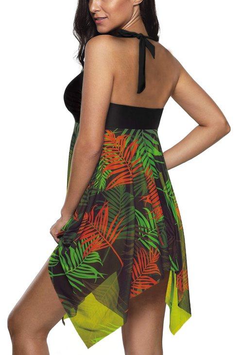 Adriana Women Handkerchief Hem Detail Swimdress and Shorts Green