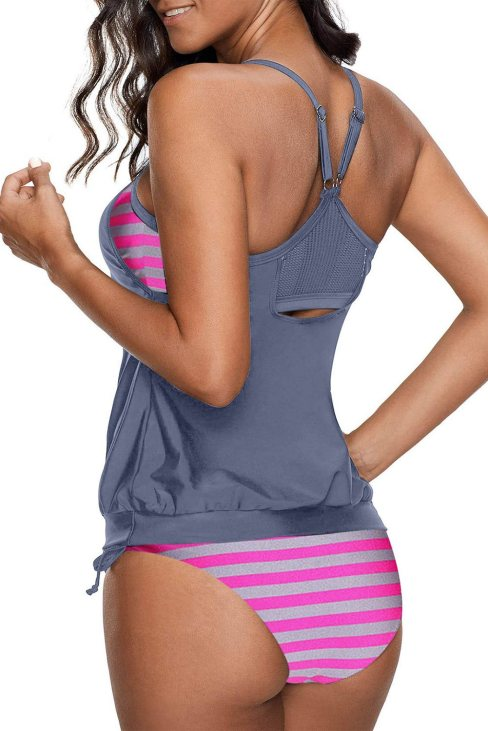Aleah Women's Tankini Swimsuit with Stripes Patchwork Gray