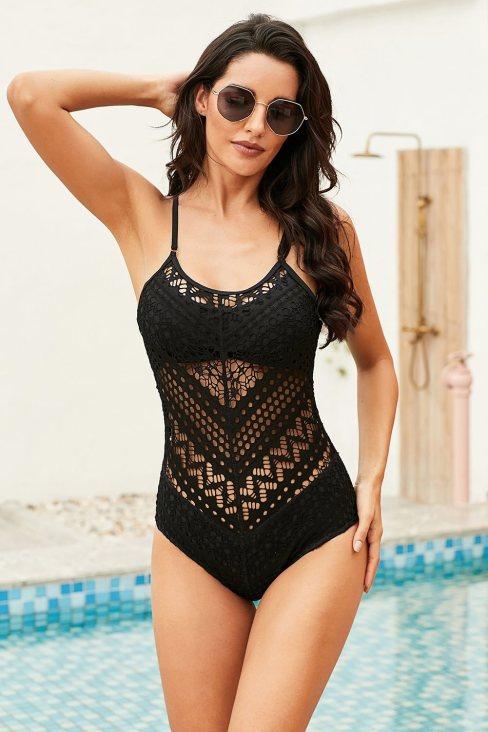 Amelia Womens Crochet Lace Halter Straps One-piece Swimsuit Black