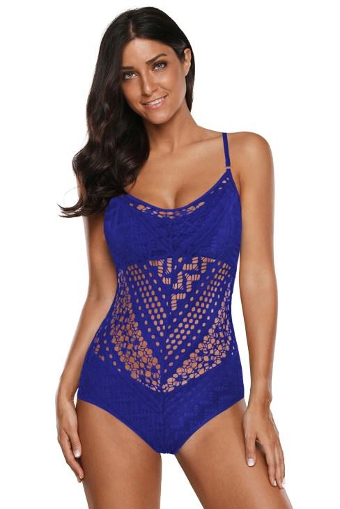 Amelia Womens Crochet Lace Halter Straps One-piece Swimsuit Blue