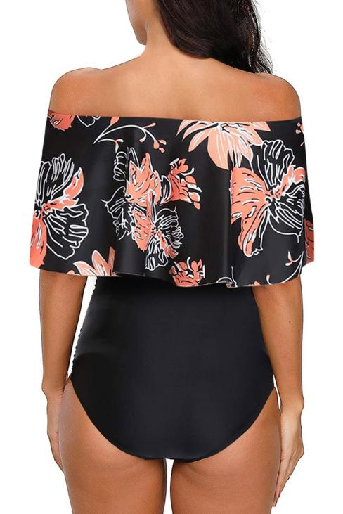 Caroline Women Printed Off Shoulder Flounce Overlay One-piece Swimwear Black
