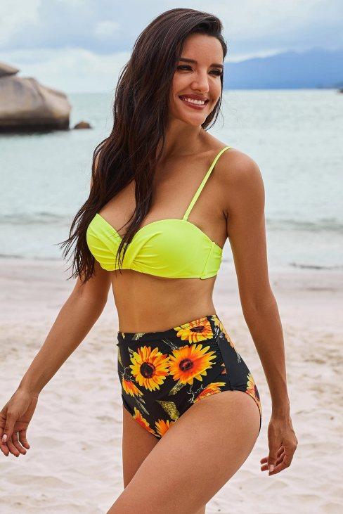 Elena Women's Yellow Sexy Push Up High-waisted Bikini