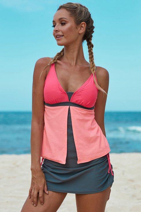 Hester Women Colorblock Tankini Skort Bottom Swimsuit Orange Pink