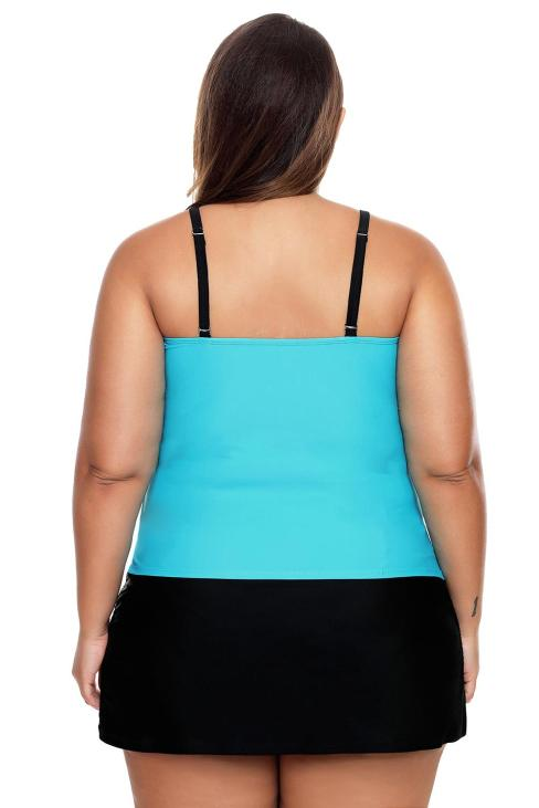 Hester Women Colorblock Tankini Skort Bottom Swimsuit Purple Blue