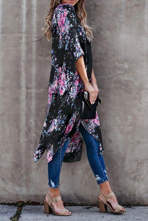 Irene Women Floral Kimono Sleeves Chiffon Loose Beach Cover Up Black