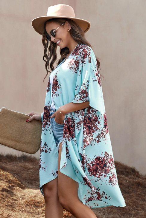 Irene Women Floral Kimono Sleeves Chiffon Loose Beach Cover Up Sky Blue