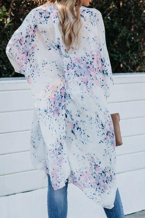 Irene Women Floral Kimono Sleeves Chiffon Loose Beach Cover Up White