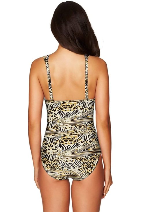 Janet Womens Classic Leopard Lattice Plunge One Piece Swimsuit
