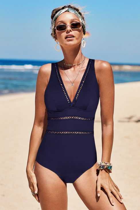 Janet Womens Lattice Plunge One Piece Swimsuit Blue