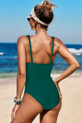 Janet Womens Lattice Plunge One Piece Swimsuit Green
