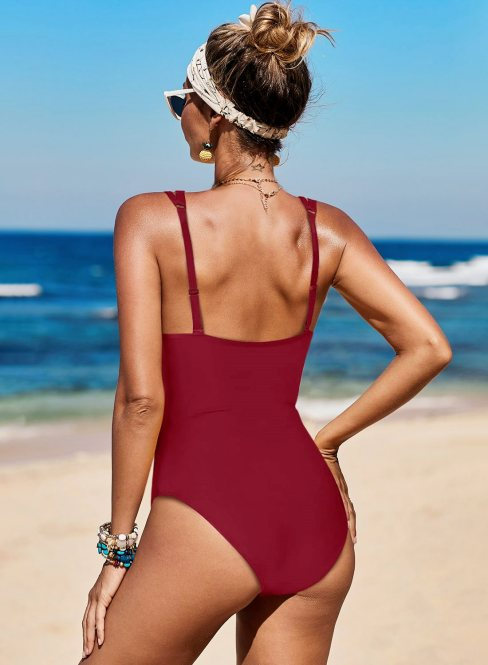 Janet Womens Lattice Plunge One Piece Swimsuit Red
