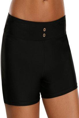 Lisabetta Womens Button Detail Swim Boardshort Black