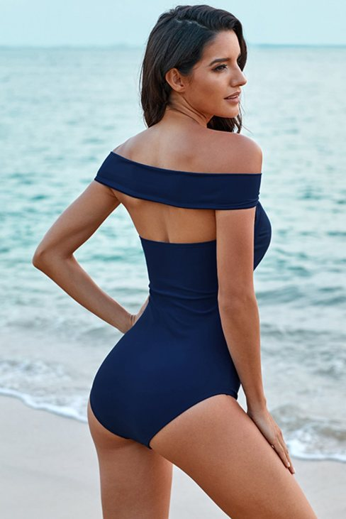 Calla Women's Criss Cross Off Shoulder Ruched One-piece Swimwear  Blue