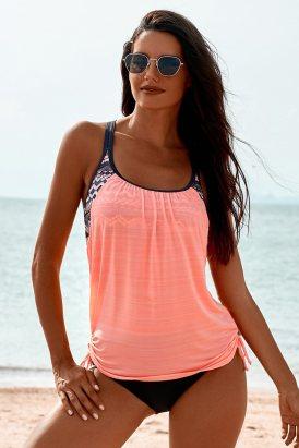 Eliane Womens Pink Printed Lined Tankini Swimsuit