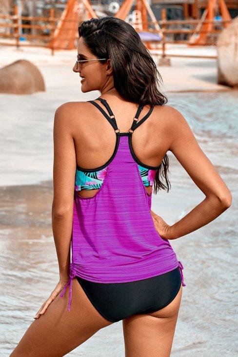 Eliane Womens Purple Printed Lined Tankini Swimsuit