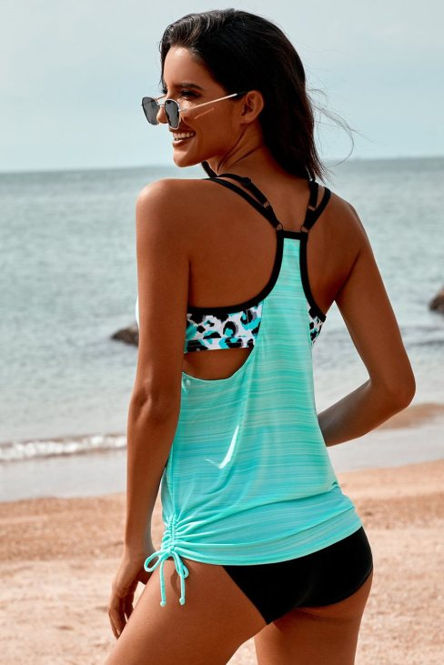 Eliane Womens Sky Blue Printed Lined Tankini Swimsuit