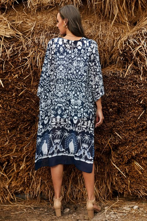Judy Womens Blue Kimono Sleeve Floral Print Graceful Cover Up