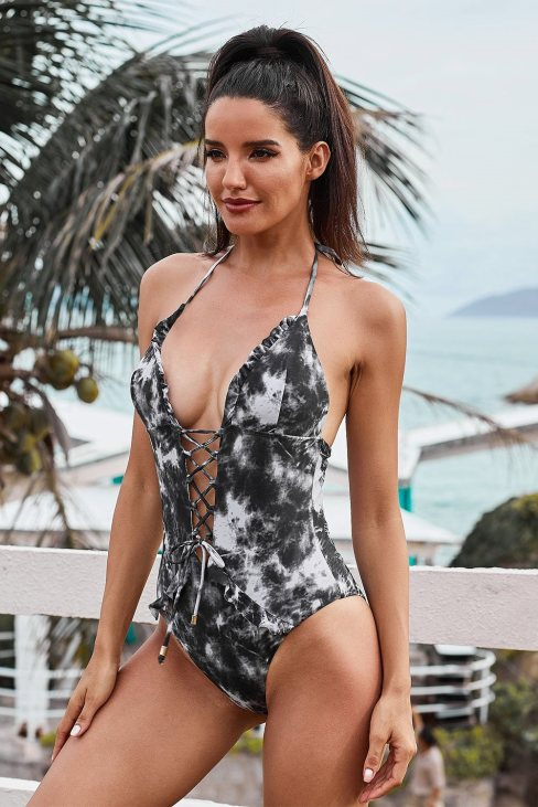 Lucy Womens Tie Dye Lace Up Front Plunging V One Piece Swimsuit Gray