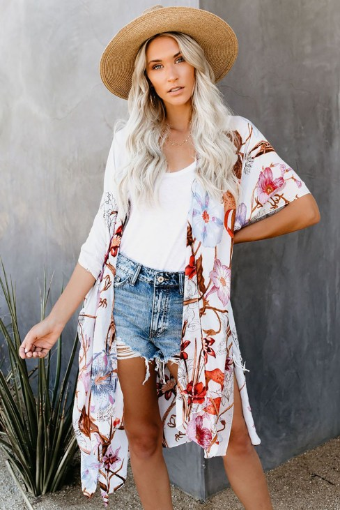 Judy Womens Multicolor Kimono Sleeve Floral Print Graceful Cover Up