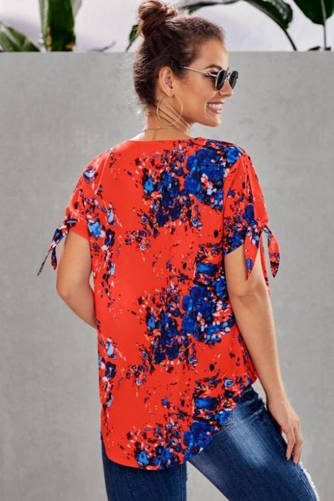 Agatha Womens Floral Twist Top Orange