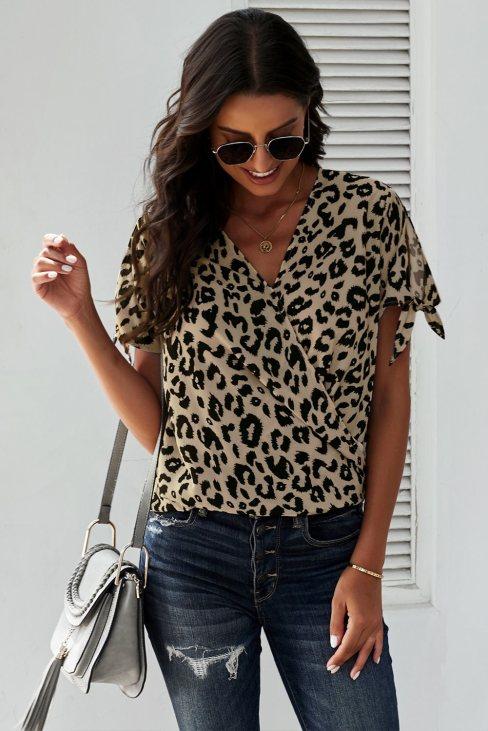 Agatha Womens V Neck Twist Top Leopard