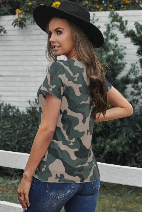 Agnes Women Camouflage Print Short Sleeve Tee Green
