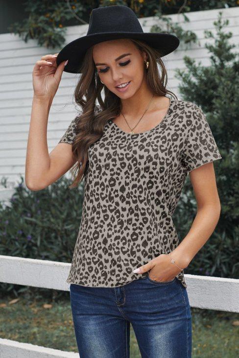 Agnes Women Print Short Sleeve Tee Leopard