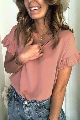 Alice Women V Neck Ruffle Short Sleeve T-shirt Pink
