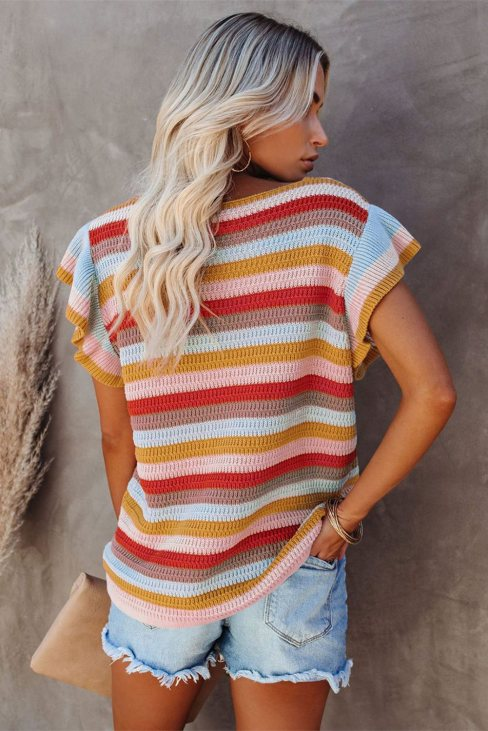 Anna Women Striped Ruffle Short Sleeve Knit Top Multi-color