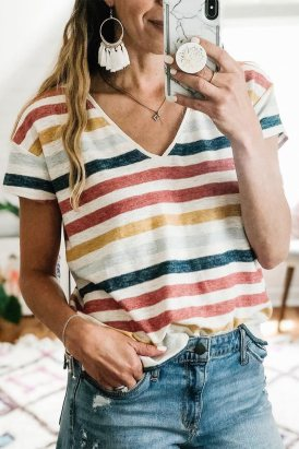 Antonia Women's Stripes V Neck T-shirt Multicolor