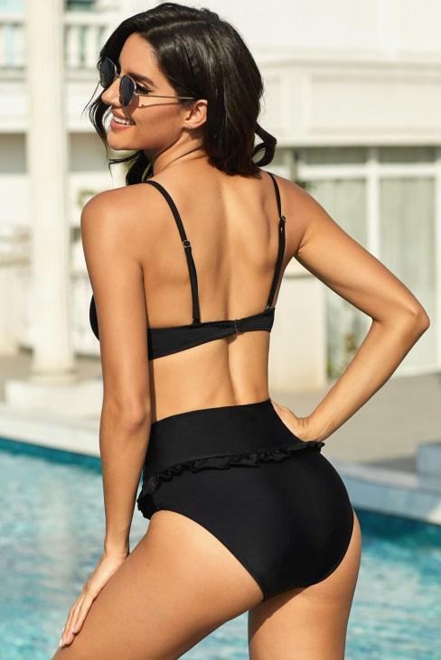 Anya Women's Sexy Fruit Print Ruffled High Waist Bikini Swimsuit Black