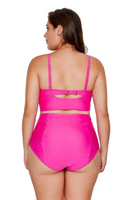 Ariah Women's Strappy Neck High Waist Plus Size Swimsuit Rosy