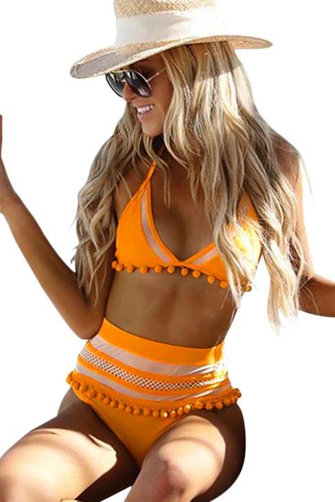 Cady Women's Pom Pom Mesh Insert High Waist Bikini