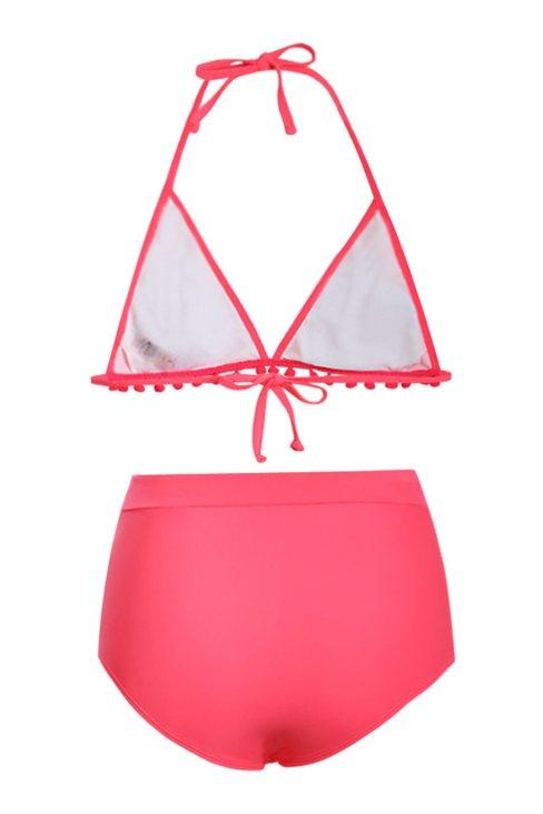Josie Womens Rosy Pom Pom Mesh Insert High Waist Bikini