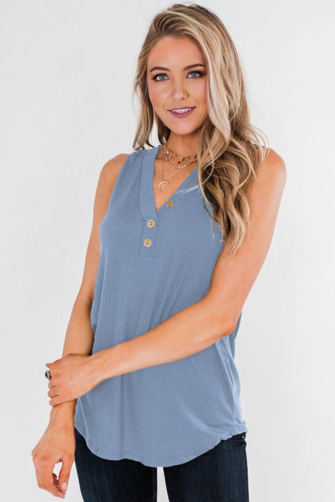 Vanessa Women's Just Say The Word 3 Button Tank Top