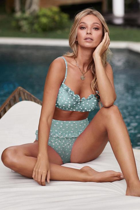 Marigold Women's Sexy Ruffled High Waist Bikini Swimsuit Sky Blue
