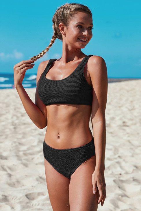 Norma Women's Scoop Neck Crop Top Mid Rise Bottom Two Piece Bikini Swimsuit Black