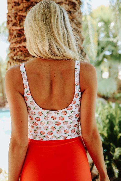 Rosina Women's Square Neck Sleeveless Fashion Print Tankini Set Orange