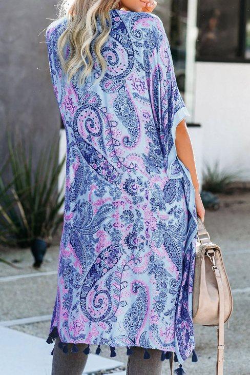 Sally Women Boho Paisley Print Kimono Beach Cover up with Tassel Sky Blue