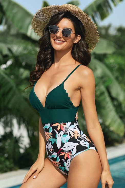 Sheila Womens Teal and Floral Scalloped One-Piece Swimsuit