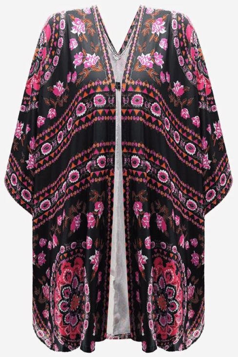 Shirley Women's Floral Kimono Cardigan Open Front Cover Up Black