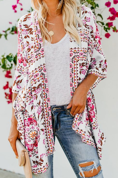 Shirley Women's Floral Kimono Cardigan Open Front Cover Up White
