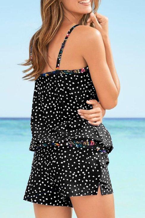 Sophia Women Dotted Print Tankini Swimwear Black