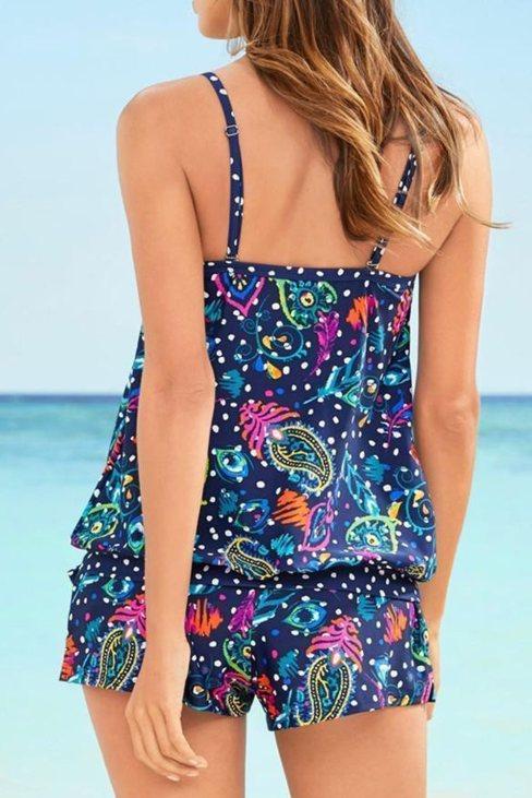 Sophia Women Mixed Print Tankini Swimwear