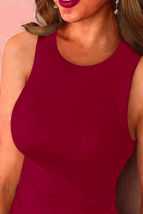 Thalia Women Round Neck Ribbed Tank Top Solid Red