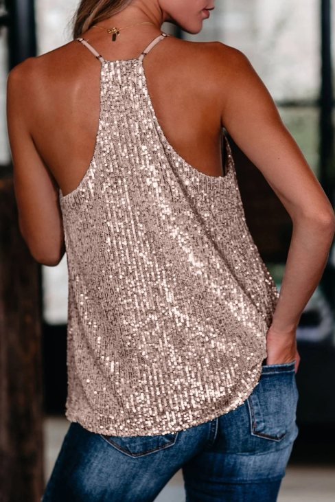 Theresia Womens Sequin Racerback Tank Pink