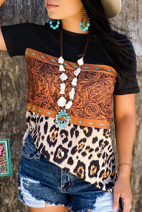 Tiffany Women's Print Buckstitch Splicing Color Block T-shirt Black Leopard
