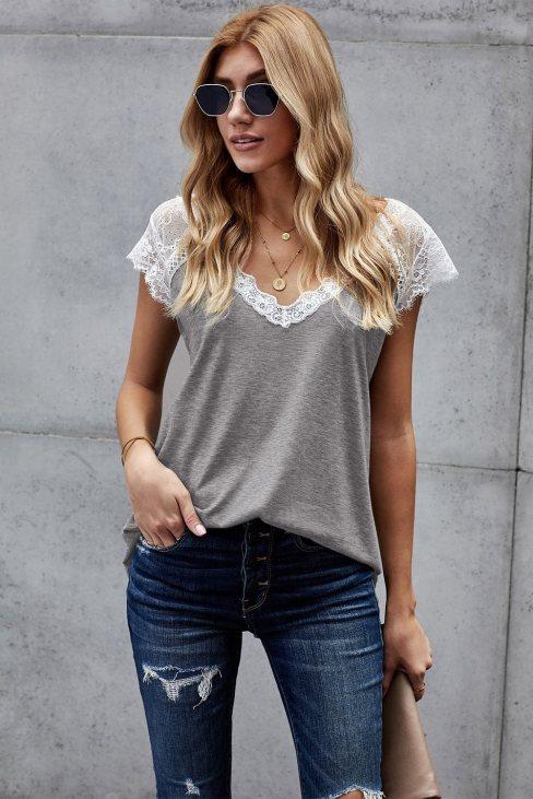 Una Women Lace Knit Tank Gray