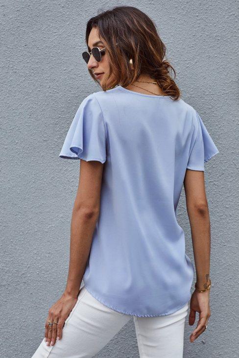 Valeria Womens V Neck Short Sleeve Tee Sky Blue