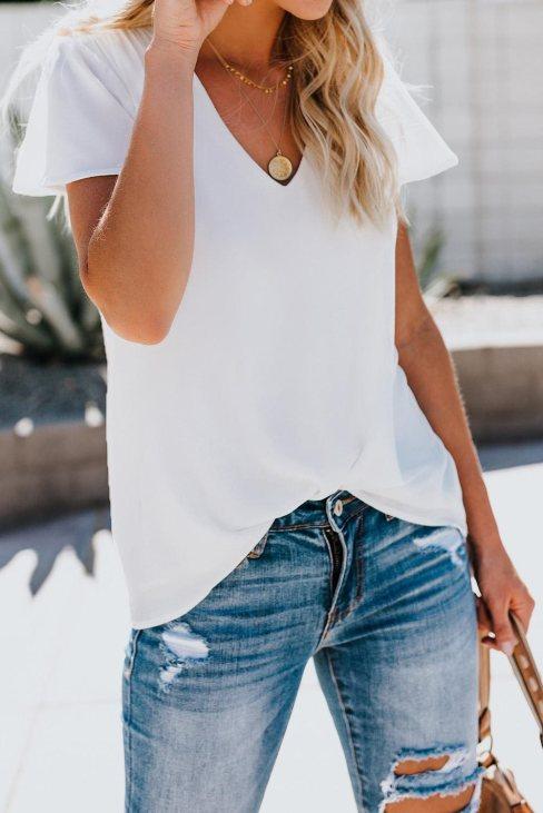 Valeria Womens V Neck Short Sleeve Tee White